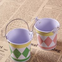 Wholesale AIBEI ZAKKA CM Container Candy Tin Buckets PC Photo Props Mini color Cylinder Garden Flower Pots Planters