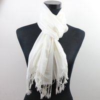 white silk scarf - 10pcs White Pashmina Cashmere Silk Solid Shawl Wrap Women s Girls Ladies Scarf Accessories