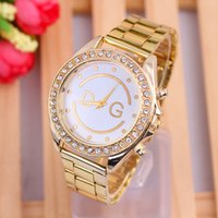 Wholesale Table hot explosion models simple female temperament watch golden watch drill GENEVA Euramerican style gold strip