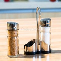 bamboo salt box - Set of Glass Spice Jar Seasoning Box Salt Sugar Pepper Bottle Kitchen K5BO