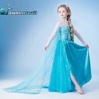 achat en gros de nouvelles robes de filles de noël-nouvelle elsa Frozen anna Christmas Baby Enfants Fille Princesse manches longues de fête d'anniversaire de dentelle de qualité TOP Tutu Paillettes Robes, DHL