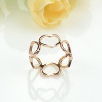 Wholesale Charm Heart Trendy Graceful Bijoux Delicate Gold Color Alloy Ring For Party