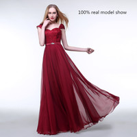 Wholesale Special Occasion Burgundy Lace Long prom Dresses Sheath Sexy Off Shoulder New Cheap Chiffon Capped Sleeve Evening Dresses