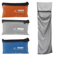 Wholesale Ultra light Portable Single Sleeping Bag Liner Polyester Pongee Healthy Outdoor Camping Travel Sleeping Bag Blue Orange Grey order lt no tra