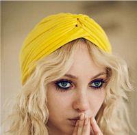 adult hijab - Retro Women Hijab Bandana Headwear Indian Headband Caps Turban Hat Ear Cap Solid Pleated Ladies Kerchief Shower Hat Beanies