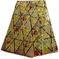 batik fabrics - Top grade batik wax fabric series HS10 yards African veritable printed super Hollandais wax fabric with nice sequins