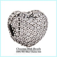 silver charm - Silver pave valentines day jewelry charm pendant solid sterling silver slide charms jewelry charms CE490