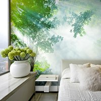 Wholesale The sun in the forest living room TV backdrop wallpaper wall mural green woods environmental non woven factory direct delivery speed