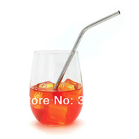 Wholesale mm Stainless Steel bended Straws Drinking Straws With Stainless Steel cleaning brush