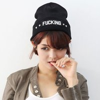 Cheap Mixed Batch&nbspKorean version of the influx of letters FUCKING rivets autumn day men and women knitted wool cap sleeve Baotou city shopping