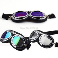 Wholesale 1Pcs Vintage Anti UV Motorcycle Scooter Pilot Goggles Helmet Glasses Motocross