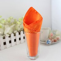 Wholesale 100 Orange Satin Table Dinner Napkin quot Square Men Pocket Handkerchief Multi Purpose Wedding Banquet Decor