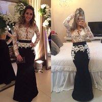 dresses uk - Affordable Black White Long Formal Evening Dresses Uk Elegant V Neck Long Sleeve Mermaid Floor Length Lace Pageant Gown