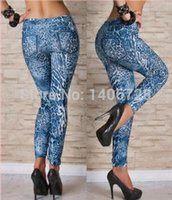 stretch jeans - Stretched Jeans look Fashion leggings for women water wave women punk rock tattoo leggings