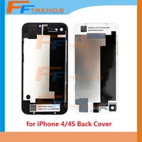 Wholesale Back Glass Battery Housing Door Back Cover Replacement Part with Flash Diffuser for iPhone CDMA S Black White Free Ship