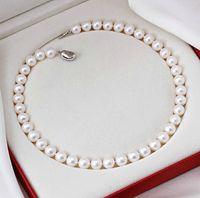 Mers du sud Prix-Nouveau Bijoux Beaux perles naturelles AAA + 10-11mm SOUTH SEA PEARL WHITE ROUND COLLIER 18 argent
