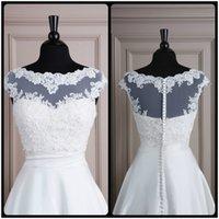 alexander springs - 2016 Cheap Lace Bride Wraps Bolero Cap Sleeve Scallop Neck Justin Alexander V Back Lillian West Wedding Jacket Covered Button Custom Made