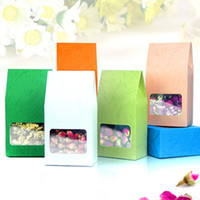 Wholesale 8 cm Embossed Kraft Paper Square Bottom Bag Box Bellows Pocket Oragan Bag With Clear Window Gift Food Chocolate Candy Packaging Pouch