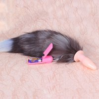 Wholesale Sex Products Charming Anal Vibrator Plug Massager Animal Fur Fox Tail Plug Anal Sex Toys For Couples Adult Games YQ5013 salebags