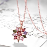 australia copper - Europe Style Colorful Womens Pendant Necklace Chain Paved Multicolor Australia Crystal Flower Shaped Charm Jewelry GIft
