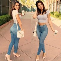american clothing supply - High waistline jeans elastic pencil pants cotton material skinny jeans new sale fashion woman clothing supply