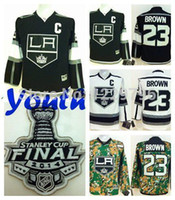 Unisex angeles c - 2016 Youth Los Angeles Kings Hockey Jerseys Dustin Brown Jersey Home Black Kids Cheap LA Kings Stitched Jerseys C Patch