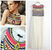 indian dress - 2015 New Women indian dresses Summer Ethnic Printed Bohemian Sleeveless Pleated Stitching Chiffon indian dress Summer Sundress beach dresses