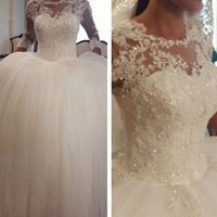Wholesale 2016 Ball Gown Lace Wedding Dresses Sheer Bodice Long Transparent Sleeve Beading Sequins Ball Gown Floor Length Bridal Dresses