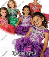 Wholesale Off The Shoulder Crystal Cupcake Ruched Neckline Pageant Dress For Girls Glitz Jeweled Collar