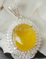 Wholesale Yellow chalcedony necklace pendant Natural real chalcedony sterling silver Perfect jewerly Fine jewelry DH