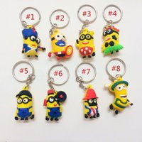 apple gift pack - 2015 D Despicable Me Minion Action Figure Keychain Keyring Key Ring Cute best gift with opp packing phone charms hot gifts