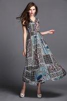 Cheap 2014 European summer v-neck paisley print dress with a waist chain fashion