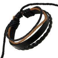 Hommes bracelets à l'infini Charme multicouches faits à la main Braided Chaîne de chanvre Bracelets de charmes en cuir Unisexe Bracelets tissés manuels Bracelets de manchette