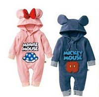 Wholesale autumn cotton Baby Girls Rompers clothing baby boy clothes mickey minnie newborn baby rompers bodysuit hoodies jumpsuit baby boy rompers
