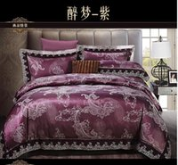 Wholesale Deep purple paisley lace satin jacquard bedding comforter set king queen size duvet cover bedspread bed sheet brand bedclothes brand