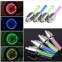 Wholesale Cool color of choice Spoke Bicycle Bike Valve light with no battery tyre Caps Wheel spokes LED Lights BY DHL