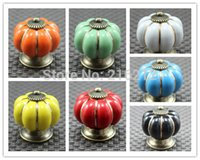 Wholesale Fashion Hot Pumpkin Knobs Europe Ceramic Door Cabinet Cupboard Handles Pull Drawer