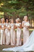 rose water - Bling Rose Gold Cheap Mermaid Bridesmaid Dresses Short Sleeve Sequins Backless Floor Length Beach Wedding Gown Bridesmaid dresses Cheap