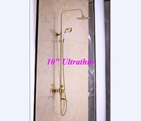 shower mixer - Luxury Golden Finish quot Ultrathin Shower Faucet Rainfall Tub Mixer Single Handle