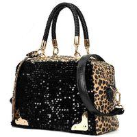 cheap designer handbags - Cheap Fashion Casual Women Designer Handbag PU Leather Leopard Print Paillette Sequin Shoulder Messenger Bag H10105