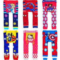 Wholesale Baby kids SpiderMan Princess Sofia pantyhose Cartoon Leggings Busha Crochet PP pants Children xmas leggings Tights pants
