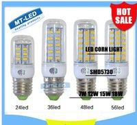 Wholesale X5 Ultra Bright SMD5730 E27 E14 LED lamp W W W W V V angle SMD LED Corn Bulb light Chandelier LED LED LED L