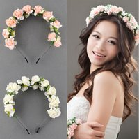 prom hair accessories - Flower Garland Floral Bridal Headband Hairband Wedding Prom Hair Accessories Photography Photo