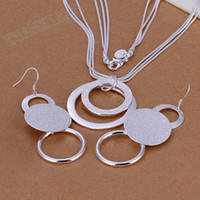Wholesale LKNSPCS017 factory price ring earrings set fashion jewelry chain selling sterling silver sets
