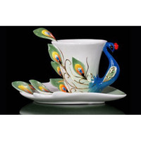 ceramic cup and saucer - Superior Hand Crafted Porcelain Enamel Graceful Peacock Tea Coffee Cup Set with Saucer and Spoon Christmas gift SL