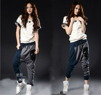 Wholesale fashion unique design loose PATCHWORK LEATHER Skull women s Harem pants baggy Casual trousers one size