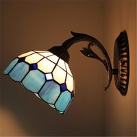 arts plexiglass - Tiffany Creative Brief Wall Lamp Retro European Style Aisle Corridor Wall Light Blue Orange Art Stained Plexiglass Wall Lights