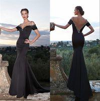 Cheap 2016 Sexy Black Tarik Ediz Yousef Aljasmi Evening Dresses Mermaid Off Shoulder Crystal Beaded Long Satin Plus Size Formal Party Prom Gowns