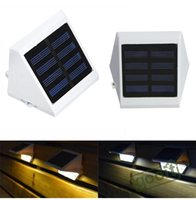 IP65 Solar OEM 4pcs lot Outdoor Solar Powered Panel 4-LED Lighting Pathway Up-Stair Wall Gutter Garden Fence Yard Solar Lamps, dandys