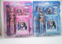 Wholesale Frozen Children Stationery Set Cute Colorful School Supplies BOX Pencil Ruler Earser Wallet Pencil Sharpener MOQ Set